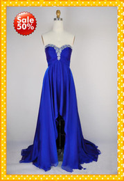 Wholesale 2013 Fashion Royal Blue High Low Sweetheart Ruffles Crystals Beaded Bling Hi lo Chiffon Short Prom Evening Formal Dresses Dress Gowns
