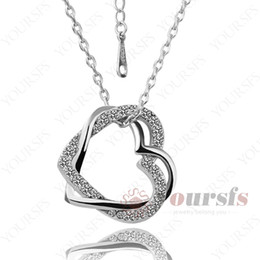 Yoursfs Trendy Jewelry Necklace Open Heart Pendant & Studs Fashion Women Jewelry Double Heart CZ Necklace For Lover Or Mother's day