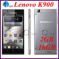 WCDMA Dual Core Android Lenovo K900 Multi-language Android cell phone 5.5inch AH-IPS FHQ Screen Intel Atom 2.0GHz Smartphone 2GB RAM 16GB ROM 13.0MP camera 3G GPS