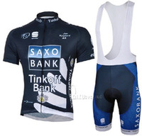Wholesale Outdoor Bike Clothing New SAXO BANK Cycling Jerseys Short Sleeve and Cycling Bib Shorts Suit Summer Cycling Clothing Mne Cycling wear