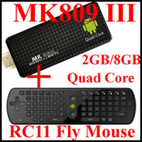 Wholesale MK809 III RK3188 Quad Core TV Stick Box Smart Android TV Box GB RAM Built in Bluetooth IPTV Mini PC RC11 Fly Mouse