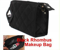 Wholesale Black Rhombus Makeup Bag Storage Organizer Cosmetic Bag Travel Toiletries Bag Drop shipping H0766