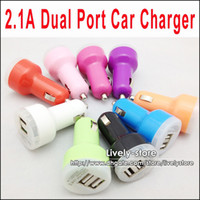 DHL 2. 1A 2100mah Dual USB Port Car Charger for ipad for iPho...
