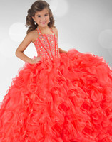 Reference Images pageant gowns - 2013 New Coral Organza Halter Ruffles Crystals Beaded Flower Girl Ball Gown Pageant Dresses RG
