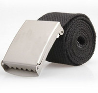 Wholesale Drop Shipping Fashion Practical Mens Webbing Web Military Style Canvas Tan Belt Buckle H0446