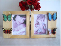 Wood ECO Friendly Brand New 2Pcs 5x7 inch Handmade Decorative Wood Photo Picture Frame Holder Unique Creative Design for DIY Personal Decorations 2 Colours Optional