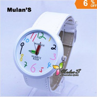 battery pencil - 1pc Elegant Women s Analog Watch colorful Cartoon number Pencil Hands Big Face watch