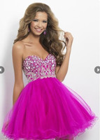 Reference Images balls shocks - New arrival sweetheart strapless Sexy jewels rock Shocking Pink Homecoming Dresses N13
