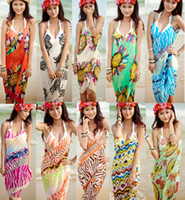 Wholesale Sexy Women Beach Dresses Chiffon Bikini Cover Up Wrap Braces Skirt Slip Dress Colorful Floral Print Bohemian Beachwear Swimwear Bulk Cheap