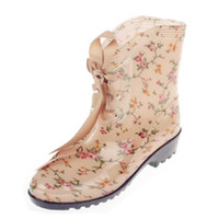 Wholesale Hottest Sale Fashion Wellies Womens Rain Boots Floral Flower Sweet Leopard Short Rainboots Shoes Ladies Online Shop Cheap Shoes