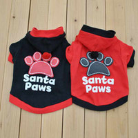 Wholesale Cute Pet Puppy Dog Shirt Black Santa Paws Prints T Shirt t shirts Clothes With Hat