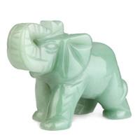 Cheap Aventurine jade elephant decoration lucky home crafts 0230
