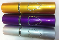 Wholesale Self Defense Device Lipstick Style Heart Patterned Pepper Spray ML Silver gold purple