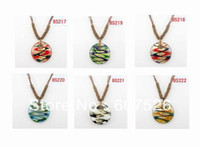 Beaded Necklaces   New Style 12pc Wolesale Colorful Fashion handmade Art Gold dust Round Glass Beads Lampwork murano glass pendant necklace jewelry