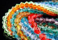 3MM 720Pcs/Lote de Mezcla de color en el Agujero a través de Bicone de Cristal suelto Cordón de accesorios de la Joyería de envío gratis