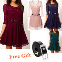 Casual Dresses Round Mini 2014 Summer Fashion Women Lady Sexy Dresses O-Neck 3 4 half Sleeve Lace Skater Mini Dress Belt Include G0157 + GA0003