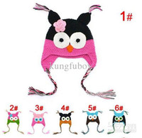 2-4 Years crochet hats wholesale - Toddler Owl EarFlap Crochet Hat Baby Handmade Crochet Hat Handmade OWL Beanie Knitted hat kungfuboy