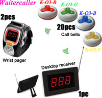 Wholesale 1set Restaurant Tea house bar LED Display Wireless Table Waiter Service Call Calling Paging System w wrist watch pager call bells