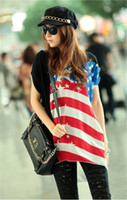 Wholesale Hot Women s T shirt Round Collar Short Sleeve The American Flag Pattern T shirt Top Tee AMY6