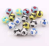 Resin Shamballa Beads soccer jewelry - 12mm Rhinestone Shamballa Resin Beads Football Soccer Beads Loose Disco Ball Fit For DIY Basketball Wives Jewelry ZBE12