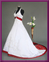 Appliques red and white wedding dresses - New white and red satin a line court wedding dresses with embroidery and beads Lace up back