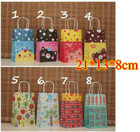 Folding clothes Cartoon NEW cartoon kraft paper gift bag, Festival gift bags, Paper bag with handles, wholesale price