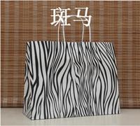 Folding Animal Print Paper Shopping bag, 33X26X12CM,Janpan technical Kraft paper bag with handle, Fashionable gift bag