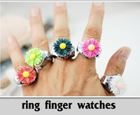 Wholesale New Korean Sunflower shape mini fashion ring finger table shockproof antimagnetic lady Finger decorations table quartz watch