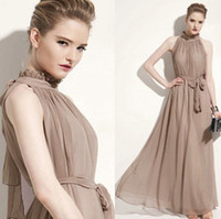Wholesale 2013 New ladies fashion Bohemia chiffon Mandarin Collar dress women s sleeveless maxi dress summer long skirt