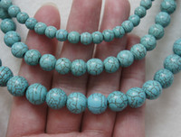 Wholesale Brand New mm mm mm Blue Turquoise Round Loose Beads inch