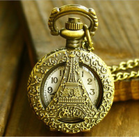 Antique Unisex Quartz Fashion Vintage Retro Wholesale Pierced Pocket Watch La Tour Eiffel Creative Bronze Watch Man Watch Necklace with Chain