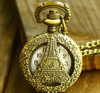 Antique Unisex Quartz Free Shipping New Vintage La Tour Eiffel Shaped Pocket Watches with Hollow for Men Fashion Watches Necklces Jewelry