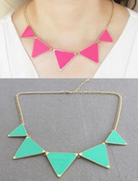 Wholesale Min Order Can Mix Item New style Sweet Triangle Pendant Necklaces colors Fashion alloy lady jewelry