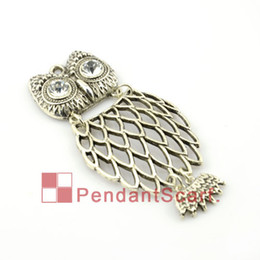 12PCS LOT, Hot Fashion DIY Jewellery Necklace Scarf Accessories Zinc Alloy Net Elegant Owl Pendant Charm, Free Shipping, AC0090