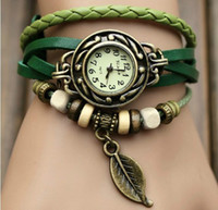 Wholesale 3pcs Retro Quartz Fashion Weave Wrap Around Leather Bracelet Bangle Womens Tree Leaf Green Girl Watch