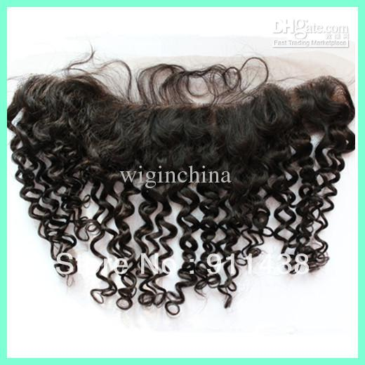 "Curly 13""x4"",1b#,14inch,Free Shipping!100% human hair frontal piece 1b"