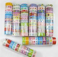 beautiful grid - 10Pcs Beautiful Cute Cartoon Colorful Tape DIY Cloth Grid Stickers Cute Creative Stationery Lowest Price