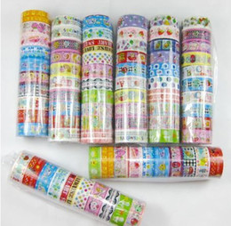 10Pcs Beautiful Cute Cartoon Colorful Tape DIY Cloth Grid Stickers Cute Creative Stationery Lowest Price Free Shipping