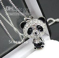 Wholesale Min order is mix order Fashion Jewelry Flash to drill the bulk of the panda necklace sweat