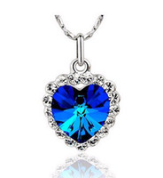 Wholesale 4 colors Platinum Plated Elements Crystal Titanic Heart Of Ocean fashion necklaces Jewelry