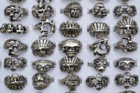 biker rings - Gothic Skull Carved Biker Mixed Styles Anti Silver Tone Alloy Rings R176 New Retro Jewelry