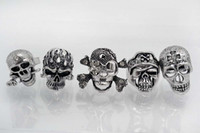 Wholesale 25pcs OverSize Gothic Skull Carved Biker With Rhinestone Silver Tone Adjustable Rings R19 New Jewelry