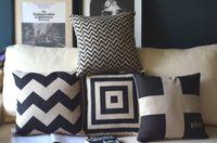 Linen classic sofa - Classic retro black and white cushion cover minimalist Scandinavian England pillow cover sofa cushion FreeShipping