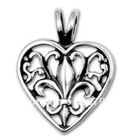 fleur de lis - promotional alloy Fleur de Lis Filigree Heart jewelry Pendant