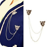 Cheap Double jaguar leopard heads punk style women CHEST PIN BROOCH Brooches Clothes highlight brooch!!