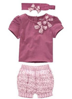Wholesale sample amissa baby pieces with beautiful bow piece toddler clothing set baby clothing romper