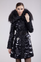 Women big ribs - Christmas and Halloween Women s long Down Jacket luxury Big Fur Collar DOWN outerwear