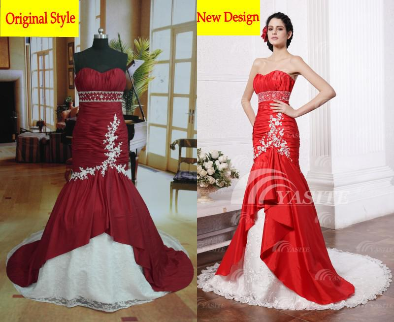 Cheap White And Red Mermaid Strapless Lace Applique Prom Dress ...