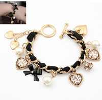 Wholesale B074 Gril s Love Leopard Pearls heart Bracelet Jewelry