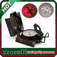 Wholesale Olive Drab W Red LED Light Metal Camping Military Marching Army Survival Dual Map Scaels Compass